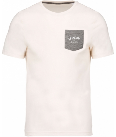 T-shirt coton bio avec poche - Cream / Heather Grey
