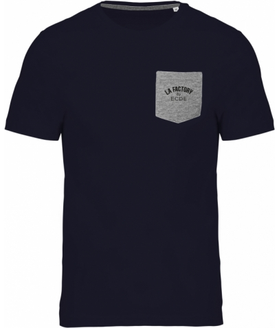 T-shirt coton bio avec poche - Navy / Grey Heather