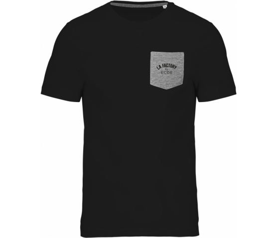 T-shirt coton bio avec poche - Black / Grey Heather