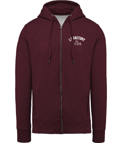 Sweat-shirt BIO zippé homme - Wine Heather