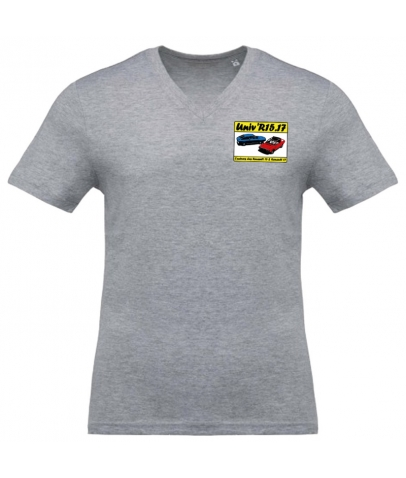 T-shirt avec Col en V - Oxford Grey