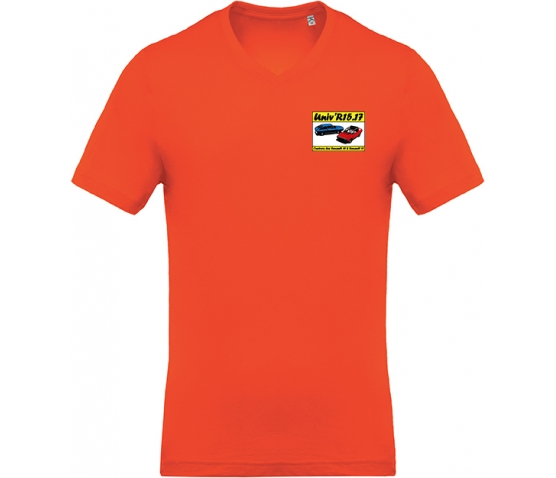 T-shirt avec Col en V - Orange